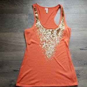 Cute racerback tank with sequin detail